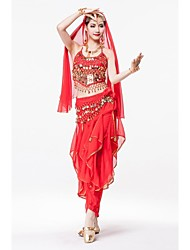 cheap -Belly Dance Skirt / Headpieces / Hip Scarves Women's Performance Chiffon / Sequined / Metal Sequin / Sashes / Ribbons / Gold Coin Sleeveless Natural