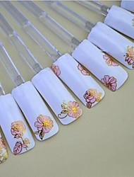 cheap -24pcs of Mixed Hot Pink Background Golden Nail Sticker Nail Art Nail Decorations