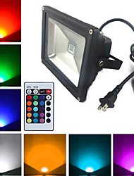 cheap -LED Floodlight 1900 lm 1 LED Beads High Power LED Remote-Controlled RGB 85-265 V