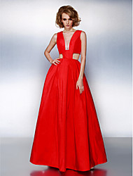 cheap -A-Line Prom Formal Evening Dress Plunging Neck Sleeveless Floor Length Taffeta with Sash / Ribbon Pleats 2020