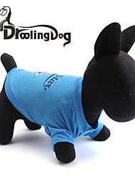 cheap -Cat Dog Shirt / T-Shirt Dog Clothes Blue Costume Cotton Stars Letter & Number XS S M L