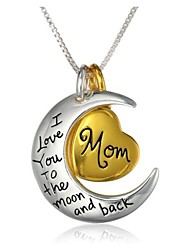 cheap -Mother Daughter Pendant Necklace Engraved Heart Crescent Moon i love you to the moon and back Magic Relationship Fashion Initial Alloy Gold / White Necklace Jewelry 1pc For Casual Daily