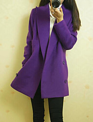 cheap -Women's Elegant & Luxurious Coat, Solid Colored Cotton Classic Style Purple