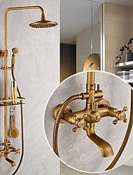 cheap -Antique Brass Shower System Set,Rainfall Two Handles Five Holes Ceramic Valve Bath Shower Mixer Taps with Cold and Hot Switch