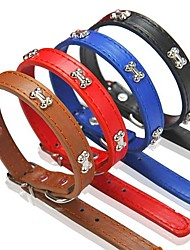cheap -Dog Collar Adjustable / Retractable PU Leather Black Red Blue Brown