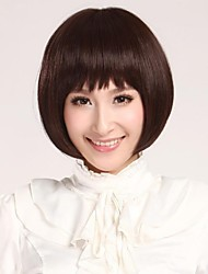Недорогие -короткие прямые каштановые бобо человеческие волосы парик с полным взрыва модно и естественно