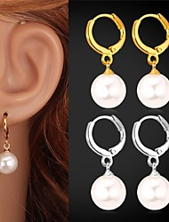 cheap -Women's Pearl Drop Earrings Ladies Birthstones Pearl Imitation Pearl Platinum Plated Earrings Jewelry Silver / Golden For Wedding Party Daily Casual Sports Masquerade / Gold Plated
