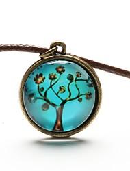 Недорогие -Жен. Ожерелья с подвесками дерево жизни Дамы Мода Синтетические драгоценные камни Кожа Резина Синий Ожерелье Бижутерия Назначение Повседневные Спорт