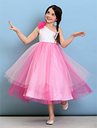 cheap -Ball Gown One Shoulder Tea Length Tulle Junior Bridesmaid Dress with Flower / Natural