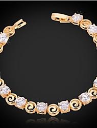 cheap -Women's AAA Cubic Zirconia Chain Bracelet Tennis Bracelet Bracelet Ladies Fashion Zircon Bracelet Jewelry Silver / Golden For Christmas Gifts Wedding Party Special Occasion Birthday Gift
