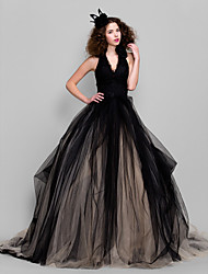 cheap -Ball Gown Honeymoon Holiday Cocktail Party Dress V Neck Sleeveless Floor Length Tulle with Appliques 2020 / Formal Evening