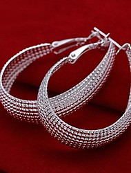 cheap -Fashion Silver Plated Wome's Hoop Earrings