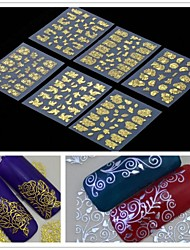 cheap -6 pcs 3D Nail Stickers nail art Manicure Pedicure Flower / Fashion Daily