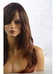 cheap -Synthetic Wig Wavy Natural Wave Style With Bangs Wig Brownish Black Synthetic Hair 24 inch Women's With Bangs Brown Wig Long
