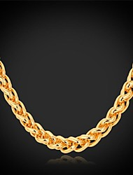 cheap -Women's Choker Necklace Chain Necklace Chunky Twisted Foxtail chain Ladies Fashion Dubai Gold Plated Yellow Gold Alloy Golden Necklace Jewelry For Wedding Party Daily Casual