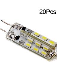 Недорогие -jiawen 20pcs 1w 120lm g4 привело би-булавки лампы кукурузы 24led smd 3014 декоративные люстры лампа теплый белый / холодный белый AC / DC 12v