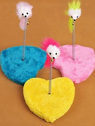 cheap -Heart Shaped Platform with Spring and Mouse Shaped Toy for Pet Cats(Random Colour)
