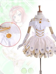 cheap -Inspired by Love Live Maki Nishikino Anime Cosplay Costumes Japanese Dresses Patchwork Sleeveless Dress Collar Gloves For Women's / Leg Warmers / Leg Warmers / Satin