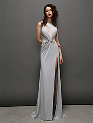 cheap -Sheath / Column Formal Evening Dress Jewel Neck Sleeveless Sweep / Brush Train Jersey with Criss Cross 2020