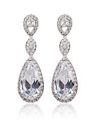 cheap -Women's White Cubic Zirconia Drop Earrings Ladies Classic Cubic Zirconia Earrings Jewelry White For Wedding Party Masquerade Engagement Party Prom