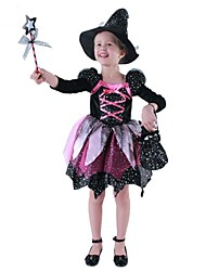 cheap -Witch Cosplay Costume Kid's Halloween Carnival Children's Day Festival / Holiday Polyester Cotton Carnival Costumes / Armor / Hat