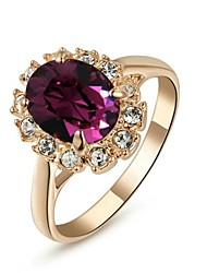 cheap -Statement Ring Crystal Oval Cut Purple Crystal Gold Plated Cocktail Ring Ladies Fashion 6 7 8 9 / Women's / Amethyst / Cubic Zirconia / Zircon