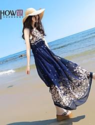 cheap -Vintage Dress Midi Sleeveless Spring Summer Fall Inelastic Thin