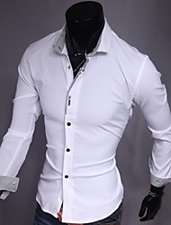 cheap -Men's Solid Colored Slim Shirt Business Daily Work Weekend White / Black / Pink / Long Sleeve