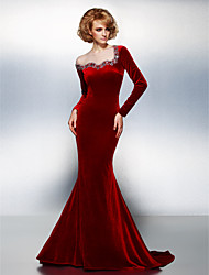cheap -Mermaid / Trumpet Jewel Neck Court Train Velvet Cocktail Party / Formal Evening / Holiday Dress with Beading / Crystals 2020