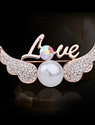 cheap -Women's Fashion Rhinestone Pearl Wing Brooch