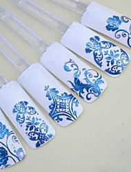 cheap -1x 108 pcs 3d blue flower nail art stickers