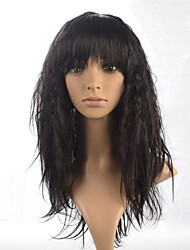 cheap -Synthetic Wig Curly Style With Bangs Wig Dark Brown Synthetic Hair 22 inch Women's Brown Wig Long