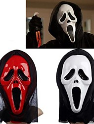 cheap -White&Red Ghost Mask with Head Cover Scream Practical Joke Scary Cosplay Gadgets Halloween Costume Party(Assorted Color)