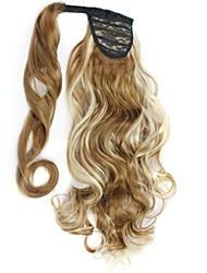 cheap -excellent quality synthetic 20 inch long curly clip in ponytail hairpiece