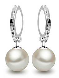 cheap -Women's Pearl Drop Earrings Hoop Earrings Ball Dainty Ladies Elegant Bridal everyday Pearl Sterling Silver Earrings Jewelry Pearl White / Screen Color For Wedding Party Gift Daily Casual Masquerade