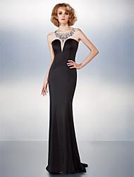 cheap -Mermaid / Trumpet Beautiful Back Black Tie Gala Dress Illusion Neck Sleeveless Sweep / Brush Train Jersey with Beading 2021