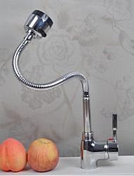 Недорогие -кухонный смеситель - Одной ручкой одно отверстие Хром Выдвижная / Выпадающий Настольная установка Современный Kitchen Taps