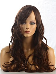 cheap -Synthetic Wig Curly Wavy Natural Wave Wavy Layered Haircut Full Lace Wig Long Brownish Black Synthetic Hair 26 inch Women's Waterfall Brown