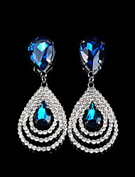 cheap -Women's Crystal Drop Earrings Dangling Dangle Drop Luxury European Fashion Cubic Zirconia Rhinestone Imitation Diamond Earrings Jewelry White / Royal Blue / Emerald For