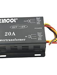 Недорогие -xincol® автомобиль автомобиль DC 24В 12В 20А питания трансформатора преобразователя-черный
