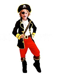 cheap -Pirate Cosplay Costume Kid's Halloween Carnival Children's Day Festival / Holiday Polyester Carnival Costumes Patchwork / Shoes / Hat