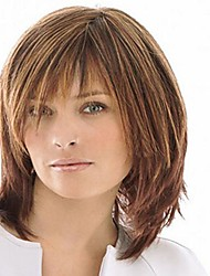 cheap -Synthetic Wig Straight Style With Bangs Wig Light Brown Synthetic Hair Women's High Quality Brown Wig Medium Length