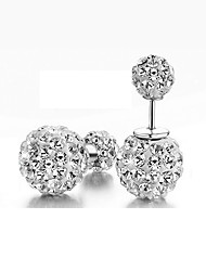 cheap -Women's Stud Earrings Jacket Earrings Double Ball two stone Ladies Classic Sterling Silver Imitation Diamond Earrings Jewelry Silver For Wedding Masquerade Engagement Party Prom Promise