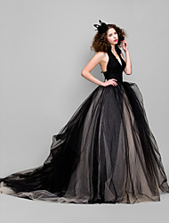 cheap -Honeymoon/Cocktail Party/Formal Evening/Wedding Party/Holiday Dress - Black Ball Gown V-neck Floor-length Tulle