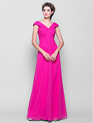 cheap -Sheath / Column V Neck Floor Length Chiffon Bridesmaid Dress with Side Draping / Ruched by LAN TING BRIDE®