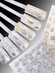 cheap -24 pcs 3D Nail Stickers Water Transfer Sticker nail art Manicure Pedicure Flower / Wedding / Fashion Daily / Plastic