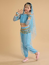 cheap -Belly Dance Outfits Training / Performance Polyester / Chiffon Coin / Tassel Long Sleeve Natural