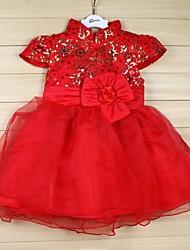 cheap -New arrival Girl`s red color folower dress New Year performances Puff dress veil princess dress