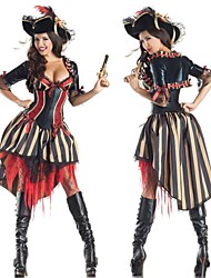 cheap -Pirate Cosplay Costume Women's Halloween Carnival New Year Festival / Holiday Polyester Women's Carnival Costumes Patchwork / Dress / Shawl / Hat / Dress / Shawl