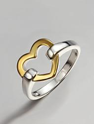 Недорогие -Жен. Кольцо Золотой / Серебряный Стерлинговое серебро Позолота Массивный Мода Для вечеринок Бижутерия Сердце Любовь Полое сердце